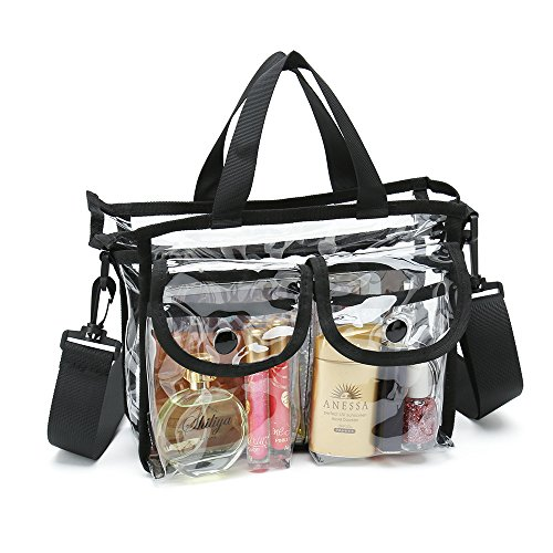 - Clear cosmetic bag with removable and adjustable shoulder strap (Black)