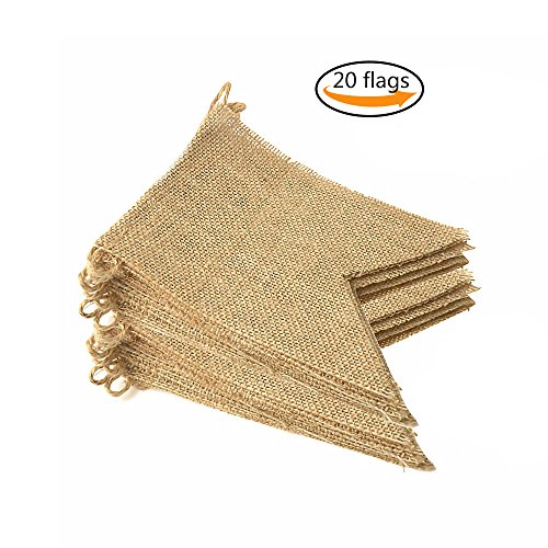 Purture 20Pcs Burlap Banner, 14.5 Ft Swallowtail Flag, DIY Hand Painted Decoration for Holidays, Camping, Wedding and Party, Shipping by - Decorations Party Diy