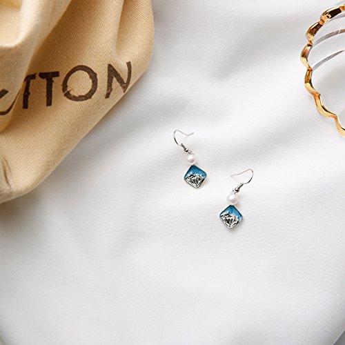 usongs Minimalist handmade freshwater pearl sea waves beach blue earrings ear hook earring earrings fresh style ()