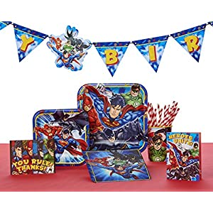 """American Greetings Justice League Square Plate (8 Count), 7"""""""