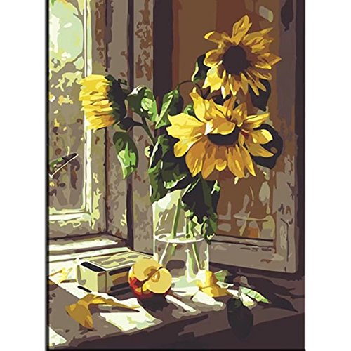 Picture Sunflower (Large Paint by The Numbers for Kids Woman Man Fantastic Pictures Painting Paints for Home Living Room Office Decor Christmas New Year Valentine Gift Decorations Warm Sunflower 16x20 Inch Frameless)