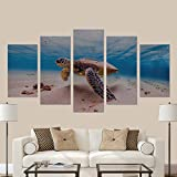 InterestPrint Hawaiian Green Sea Turtle Cruises in the Warm Waters of the Pacific Ocean in Hawaii Canvas Wall Art Painting Modern Home Decor Picture For Living Room Decor Gifts (No Frame)