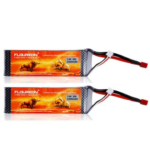 FLOUREON 7.4V 2S 3300mAh 35C Li-Polymer Lipo RC Battery Packs with T Plug Connector for RC Airplane RC Helicopter RC Car RC Truck RC Boat UAV Drone FPV(2Packs)