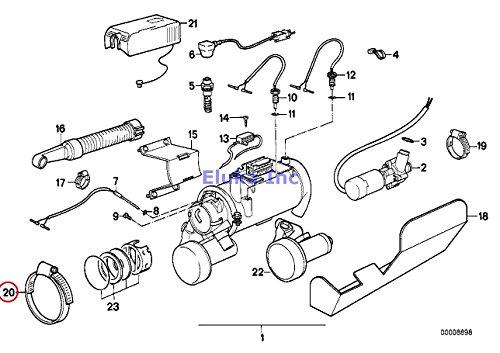 BMW Genuine Heating Fuel Injection Intake Ventilation Hose Clamp L89-96 524td 528e 533i 535i M5 318i 318is 840Ci 840i 850Ci 850CSi 740i 740iL 530i 540i 318i 318is 318ti 740i 740iL 540i 540iP M5 Z8 X5 4.4i X5 4.8is 525i 525xi 530i 530xi 545i 528i 528xi 530xi 645Ci 645Ci 745i ALPINA B7 745Li X5 3.0si X5 35iX X1 28i X1 28iX Z4 2 ()