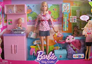 Amazon Com Barbie I Can Be Baby Doctor Doll Amp Playset W 2