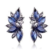 Ginasy Luxury Leaves Shape Glass Cluster Crystal Teardrop Flower Design Stud Earrings