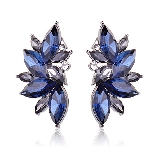 Ginasy Luxury Leaves Shape Glass Cluster Crystal Teardrop Flower Design Stud Earrings (Blue)