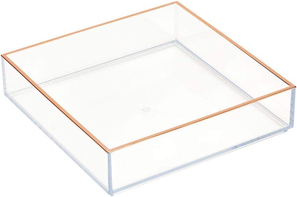 Nagellack und Co praktische Aufbewahrungsbox f/ür Kosmetikartikel wie Lippenstift Schminkaufbewahrung f/ür Bad oder Schlafzimmer mDesign Kosmetik Organizer durchsichtig und rotgold