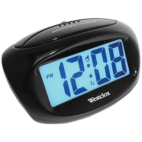 Westclox 70043X Large Easy-to-Read LCD Battery Alarm Clock, Black,