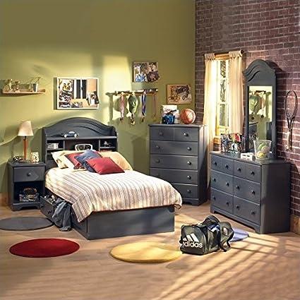 Exceptional South Shore Summer Breeze Kids Antique Blue Twin Wood Captainu0027s Bed 3 Piece Bedroom  Set