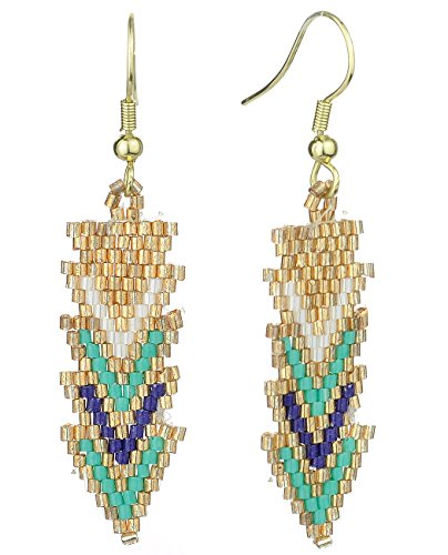 Women's Handmade Beaded Tribal Aztec Arrow Dangle Pierced Earrings, Blue