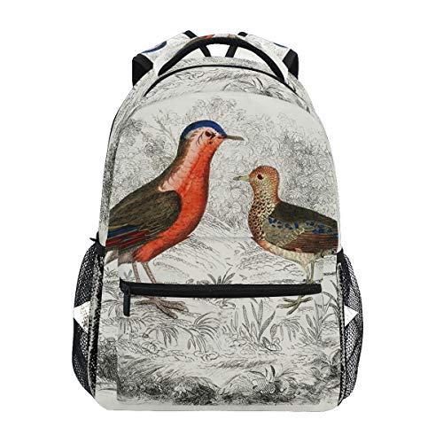 Vintage Drawing Partridge Bird Backpack School Bookbag Travel Shoulder Laptop Bag for Womens Mens
