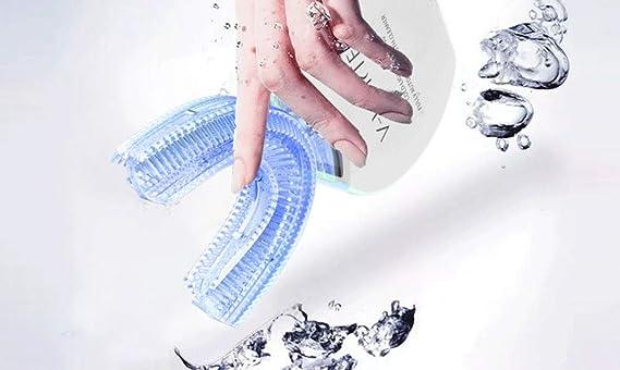 SUNLMG Cepillo de Dientes Perezoso ultrasonido en Forma de U Cepillo de Dientes automático Cepillado artefacto,Blue: Amazon.es: Hogar