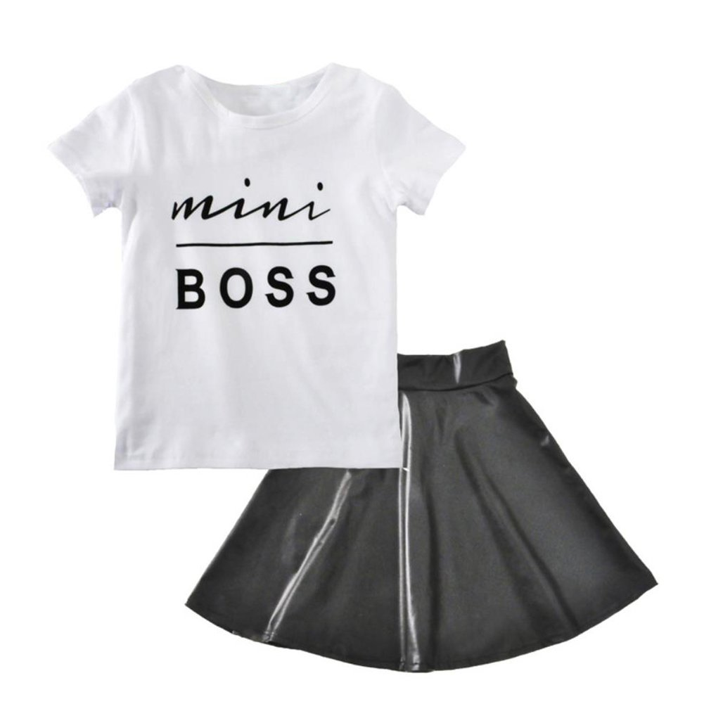 Motteecity Trendy Girls Clothing Set Short Sleeves Words Print T-Shirt and PU Skirts