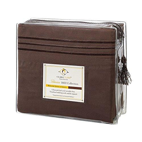 Clara Clark Premier 1800 Series 4pc Bed Sheet Set - Queen, Brown, Hypoallergenic, Deep Pocket