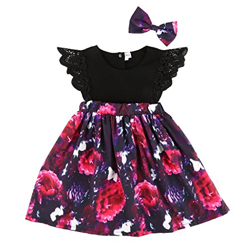 MIOIM 2pcs Kids Toddler Baby Little Girls Sisters Ruffled Floral Jumpsuit Romper Dress Outfits Set