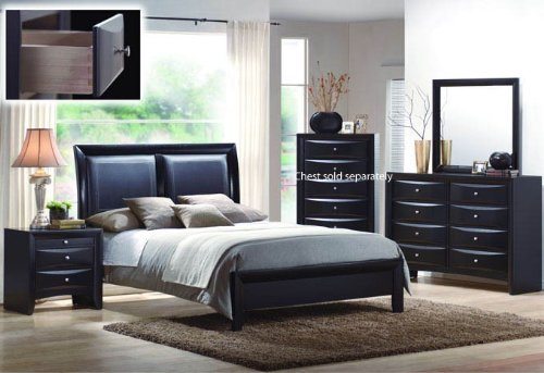 4pcs Queen Size Bedroom Set - Black Finish - bedroomdesign.us