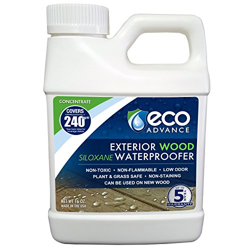 Eco Advance EAWOD16CON 16-oz Exterior Wood Siloxane Water Repellent Liquid Concentrate, White But Dries Clear