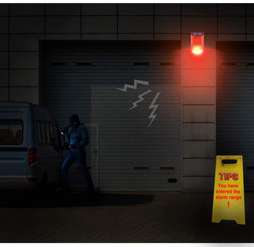 Night Mode SZYOUMY Solar Powered Sound Alarm Strobe Light Flashing 6LED Light Motion Sensor Security Alarm System 110dB Loud Siren for Home Villa Farm Hacienda Apartment Outdoor Yard Day Mode