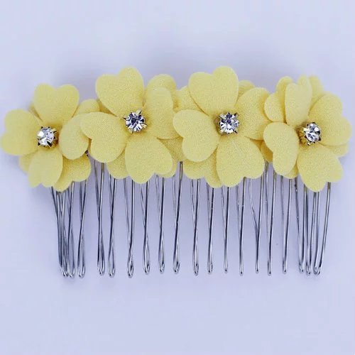 Brendacosmetic Fashion Woman Korean Style Clover four flower Tiara Hairpins hair Comb clips ,Small fresh Colorful hair styling tool hair comb clips for women ladies - Girl Malaysia Model