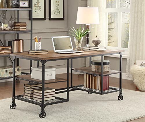 HOMELEGANCE Wood and Metal Writing Desk, Brown Black