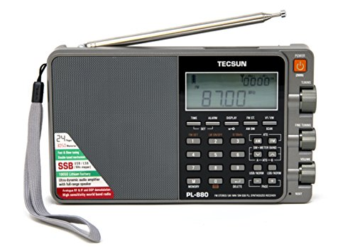 Tecsun PL880 Portable Digital PLL Dual Conversion AM/FM, Longwave & Shortwave Radio with SSB (Single Side Band) Reception, Color Silver