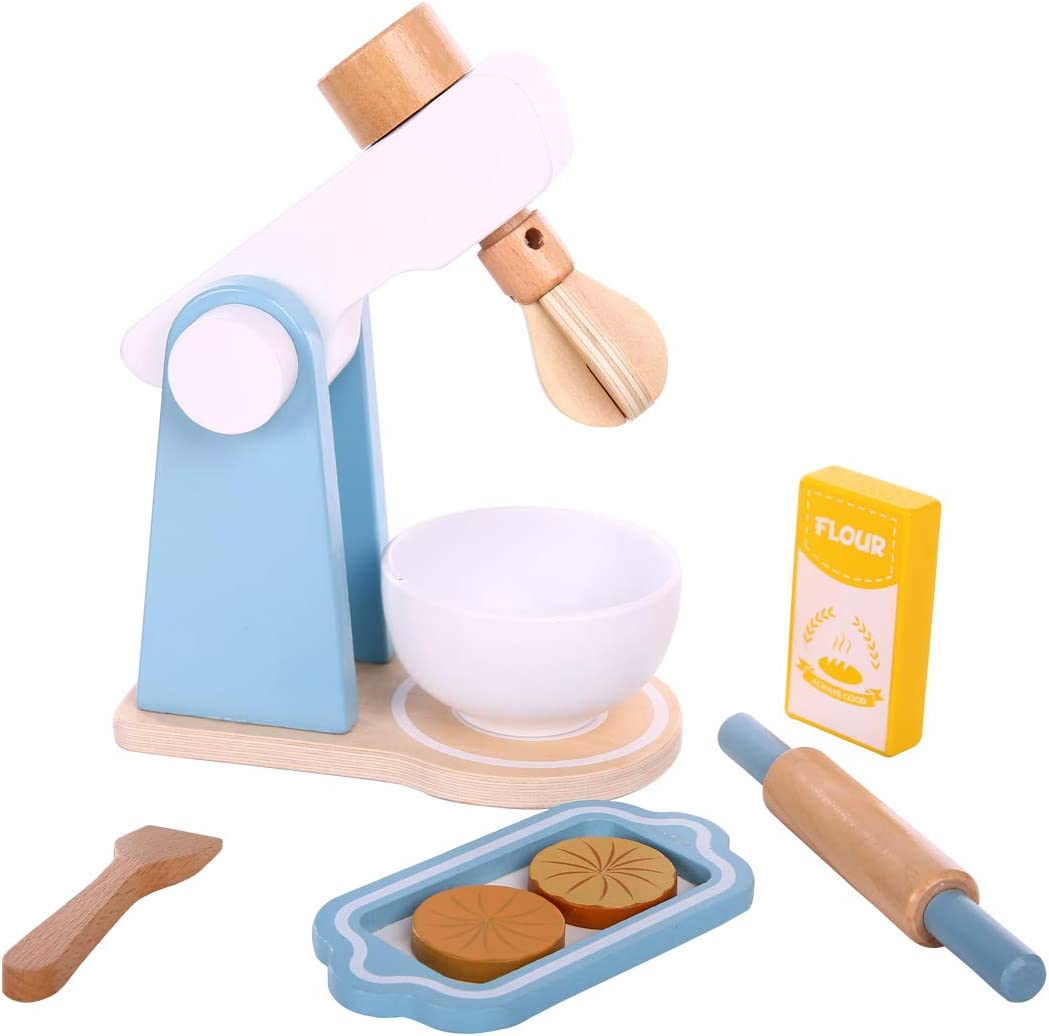Spiekind Mixer/Blender Toys Wooden Kitchen Sets Toddlers - Role Play Game Education Pretend Play Early Learning Toys for Kids Age 3 and Up