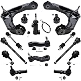 Detroit Axle - 8-Lug Front Upper Control Arms w/Ball Joints + Tie Rod End + Sway Bar Link Suspension Kit Replacement for Chevy GMC Sierra Silverado Suburban 1500 2500 HD Hummer H2-13pc Set
