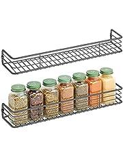 mDesign - Kruidenrek in 2-delige set - keukenorganizer - voor kruiden, specerijen, potjes en ander voedsel - wandmodel - pc grafiet