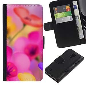 Graphic Case / Wallet Funda Cuero - Narcissus Flower Pink - Samsung Galaxy S4 IV I9500