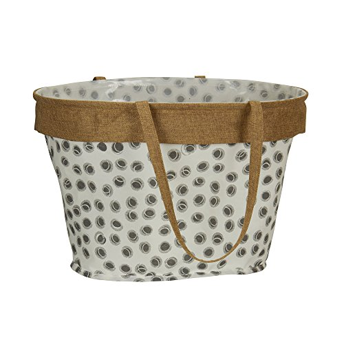Household Essentials Oval Canvas Krush Tote Bag, Dot Print with Burlap -