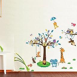 Amaonm® Creaitve Jungle Wildlife Forest Animals Paradise Cartoon Monkey Owls Giraffe Elephant & Giant Bown Tree Wall Decal Wall Stickers Murals for Nursery Room Classroom Kids Bedroom Living room