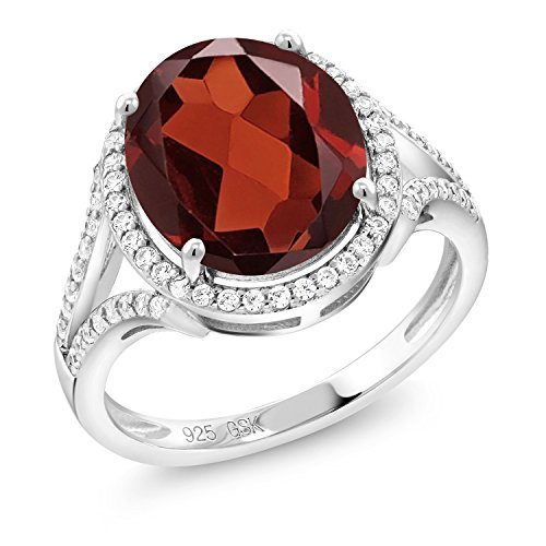 Gem Stone King Red Garnet 925 Sterling Silver Women's Ring (6.42 Ct Oval Gemstone Birthstone Available 5,6,7,8,9) (Size ()