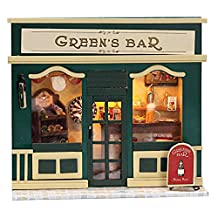 WYD DIY Mini European Shop Manual Assembled Model Toys,Wooden Dollhouse Furniture Kits with Light,Cute Room With Furnitiure and Cover Artwork ,X-mas Gift (Green bar)