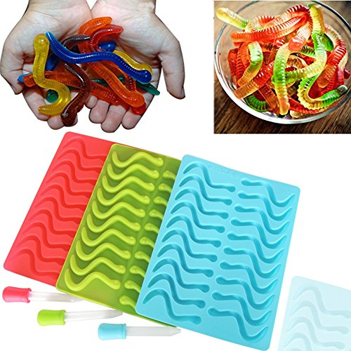 SHareling 3 Pack 20 Cavities each Gummy Worm Silicone Molds with Gum Drop   Ice Cube Trays Molds for Jelly Halloween Gummi Chocolate Soap Cake, Available in Oven Fridge Microwave (Halloween Cake With Dry Ice)