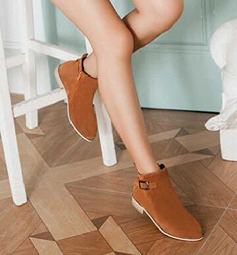 CHFSO Womens Trendy Solid Suede Round Toe Buckle Zipper Low Heel Ankle Boots Brown iHjcAYyH4