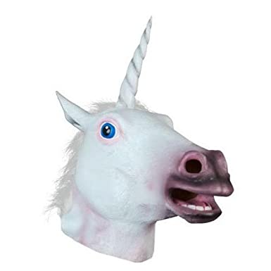 Unisex Adult Creepy Unicorn Mask Latex Cosplay Animal Halloween Costume Mask