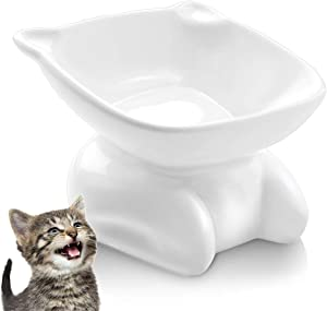 AYADA Ceramic Cat Food Bowl, Cat Shaped Kitty Bowl Raised Anti Vomiting Elevated Ergonomic Lifted Slanted Tilted 15 Angle Face Posture Cute Funny Whisker Friendly Wide Shallow Pet Bowl Dish White