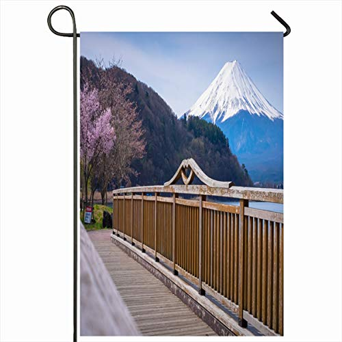 Ahawoso Seasonal Garden Flag 12x18 Inches Twilight Blosson Mt Fuji Cherry Blossom Lake Kawaguchiko Nature Parks Boat Festival Flower Kawaguchi Home Decorative Outdoor Double Sided House Yard Sign
