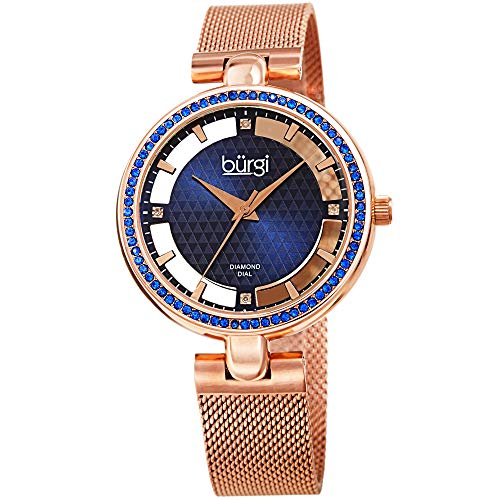 Burgi Sparkling Colored Crystals Women's Watch - Floating Dial On Shimmering Triangle Pattern 4 Genuine Diamond Markers On Stainless Steel Mesh Band -BUR262 (Rose - Diamonds Floating Pink Watch