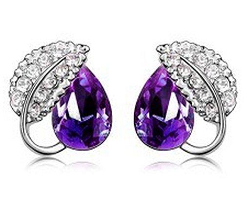 KATGI Fashion Leaf Droplet Crystal Stud Earrings in (Asian Purple Earrings)