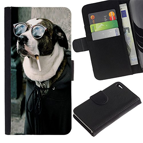 OMEGA Case / Apple Iphone 4 / 4S / Cool Funny Badass Smoking Hipster Dog / Cuir PU Portefeuille Coverture Shell Armure Coque Coq Cas Etui Housse Case Cover Wallet Credit Card
