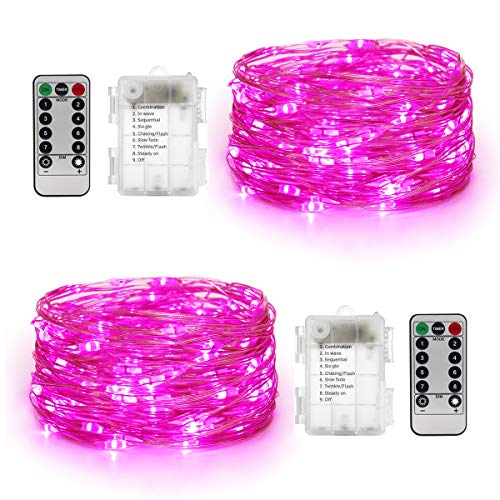YIHONG 2 Set Christmas String Lights Battery Operated 8 Modes 16.4ft 50Leds Fairy Lights Firefly Twinkle Lights Remote Timer for Bedroom Garden Party Indoor Decor Pink