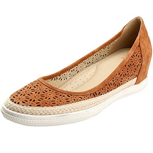 Toe Espadrille Round Flower Cutout Alexis Leroy Breathable Camel Womens Shoes tR0xRqI