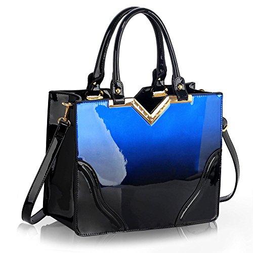 Trend Star Mujer grandes bolsillos Bolsos Mujer Hombro konstrukteur piel sintética G - Navy