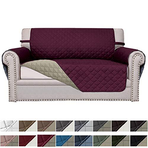 Easy-Going Sofa Slipcover Reversible Sofa Cover Furniture Protector Couch Cover Elastic Straps PetsKidsChildrenDogCat(Loveseat,Wine/Beige)