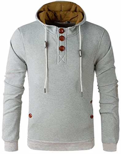 Pullover Men's Button White Hoodie today Winter Elbow Patch Classic Sweatshirt Up UK qFxCAwvp