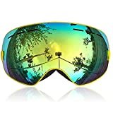 IceHacker 6 Colors Lagopus Snowmobile Snowboard Skate Ski Goggles with Detachable Lens and Wide Angle Double Lens Anti-fog Big Spherical Professional Unisex Multicolor Snow3100 (Yellow)