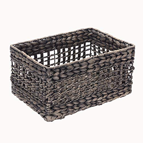 Home Villacera Rectangle Hand Weaved Wicker Baskets Made of Water Hyacinth | Nesting Black Seagrass Bins | Set of 2