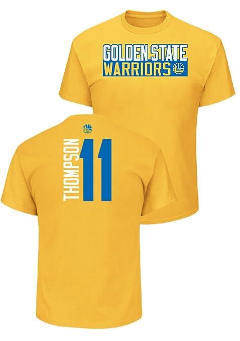 aca20a7aa Majestic Klay Thompson Golden State Warriors Mens Gold Vertical Short  Sleeve T Shirt (X-